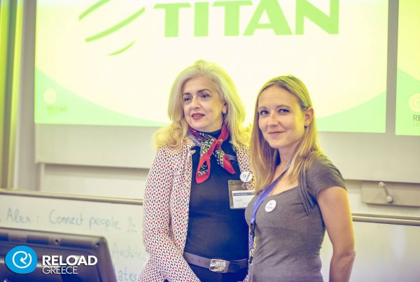 TITAN representatives at Ignite @Reload Event: Anna Mamalaki, Global HR-Employee Engagement & Marilia Katras, Strategic Analyst